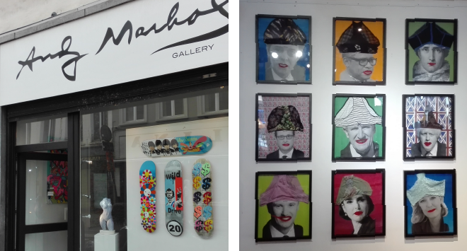 Left: shop window of the Andy Marhol Gallery. Right: collage of the collection of the Brussels Slip Museum.