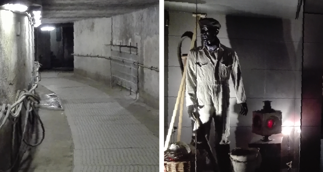 Manikin doll of a worker in the underground tunnels of the Sewer Museum.