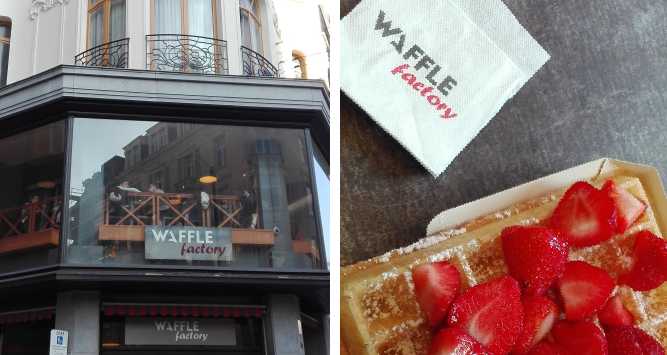 A delicious waffle from the Waffle Factory in Brussels.