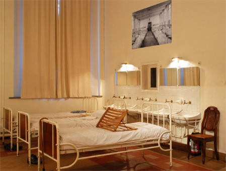 Antique hospital beds in the Museum Dr. Guislain