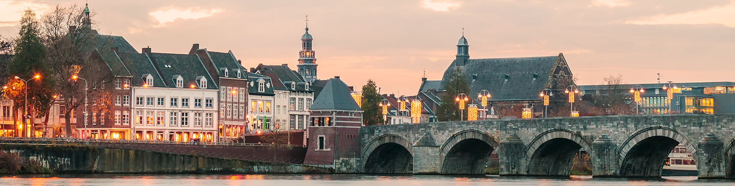 Sunset on the river in Maastricht