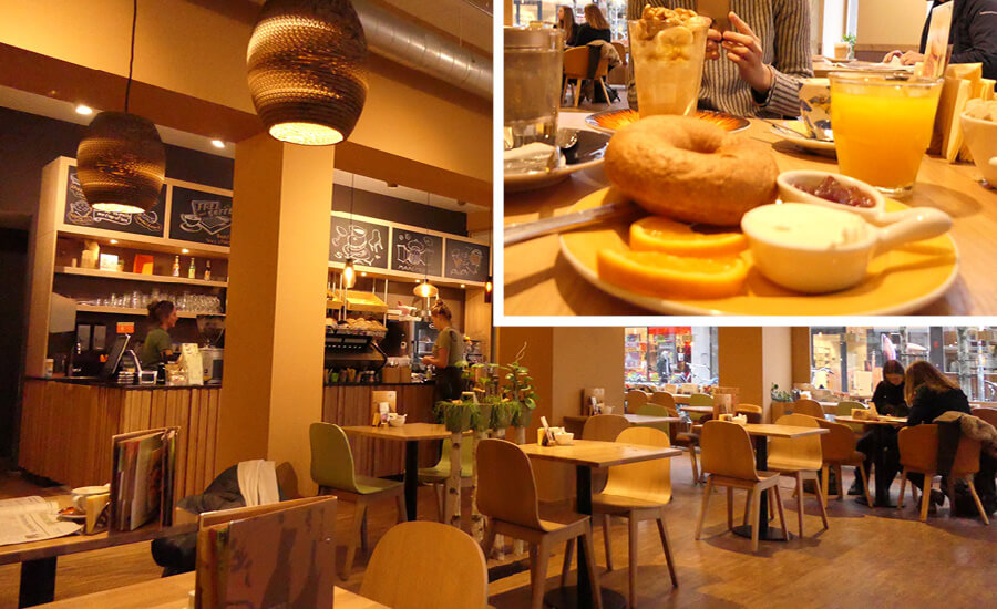 The warm atmosphere of a bagel bar