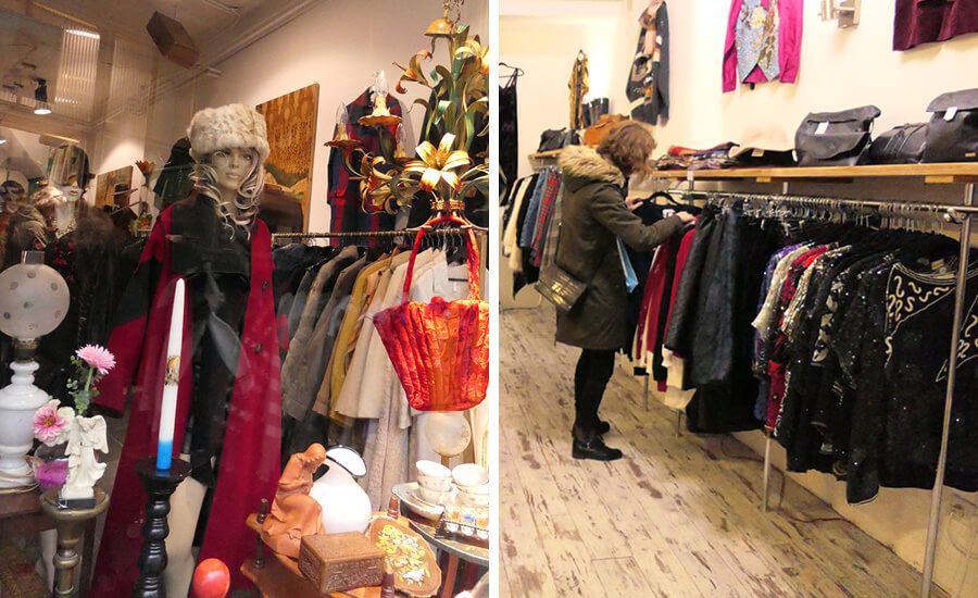 A woman shopping for original sweaters