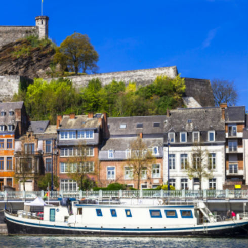 Panoramic view along the shores of the Meuse in Namur