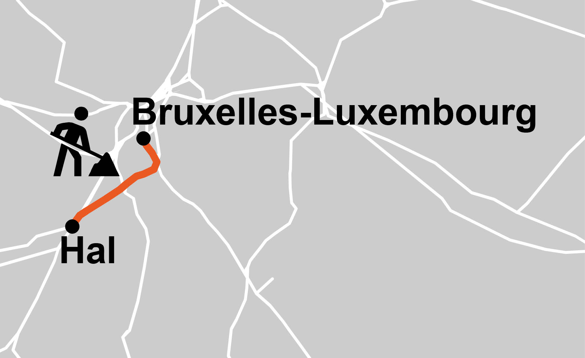 Carte Bruxelles-Luxembourg - Hal